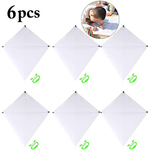 Joyibay DIY Kids Kite Kites Making Painting White Paper Blank Kites with Swivel Line for Boys & Girls Outdoor Park Beach Grassland Activities(6PCS) ()