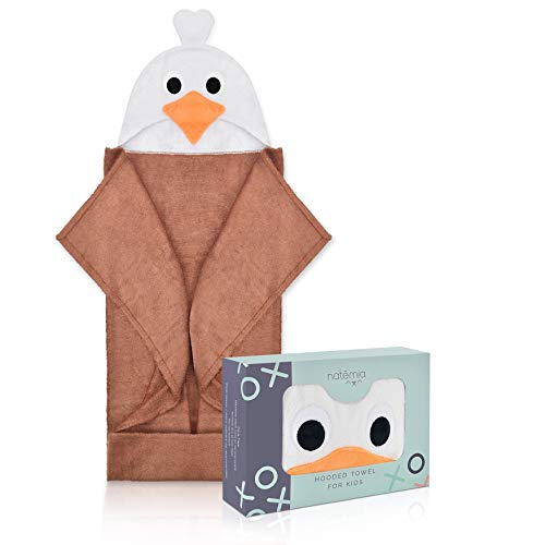 Natemia Extra Soft Hooded Towel for Kids | Highly Absorbent and Hypoallergenic | 40 X 30 Large Rayon from Bamboo Baby Bath Towel with Hood | Great Baby Shower  Registry Gift
