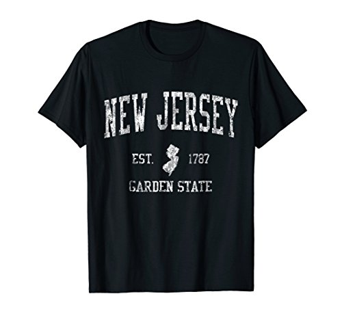 (New Jersey T-Shirt Vintage Sports Design NJ Tee)