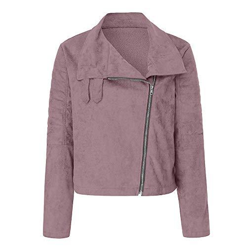Couleur Survêtements Casual Femme Rivet Parka Outwear XL Bomber Manteau Rose Zhrui Zipper Veste Taille Rétro txPq0U