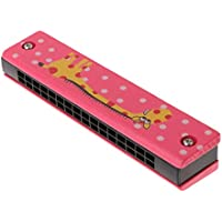 CrazyCrafts Wooden Harmonica Colorful Kids Musical Instruments Toys Children Cartoon Pattern Wood Mouth Organ Random Color and Design for Boys and Girls with Surprise Gift