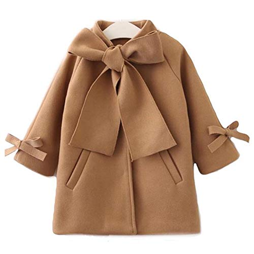 - SUUGEN Toddler Kid Baby Girls Warm Wool Bowknot Coat Winter Overcoat Outwear Jacket (4-5, Brown)