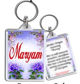 Maryam - ANY personalised Arabic/Muslim Name Keyring ...
