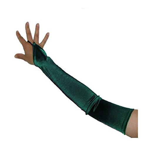 SACAS Long Fingerless Satin Gloves in Forest Green
