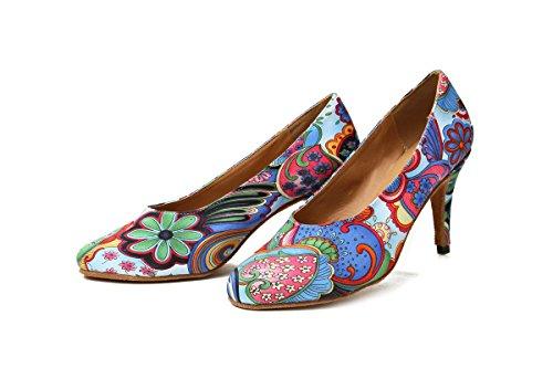 Floral Blue Womens Pumps Wedding Shoes Printed Satin Social GL254 5cm Dancing Heel 8 Minishion Classic 4ZgpwEqgx