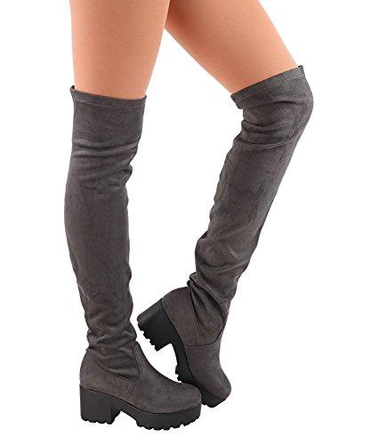 Heel Platform Knee High - ShoBeautiful Womens Thigh High Platform Boots Sexy Chunky Block Heel Stretch Pull on Over The Knee Tall Boots Grey 8.5