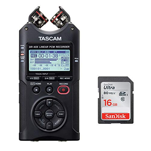 Tascam DR-40X Four-Track Digital Audio Recorder with SanDisk 16GB Memory Card Bundle