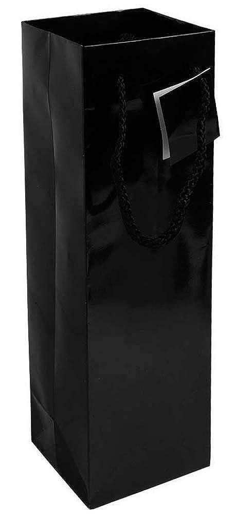30 (trenta) pezzi Sacchetto porta bottiglia (1 posto) in carta laminata (157 g/m2) con rinforzo alla base, maniglie in cordino e biglietto auguri maniglie in cordino e biglietto auguri (argento)