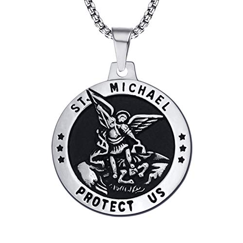 enhong St Michael Necklace Vintage Stainless Steel The Archangel Pendant with Chain 20 Inches