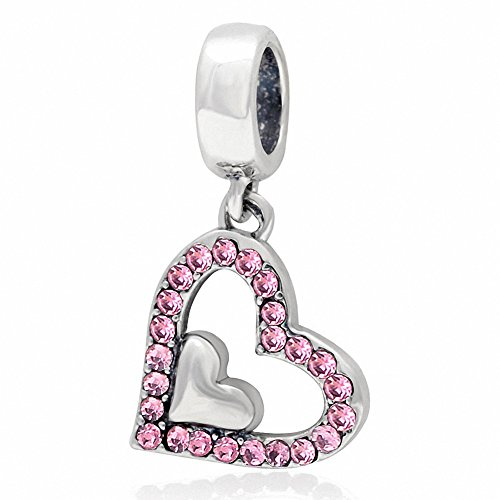 SoulBeads Authentic 925 Sterling Silver Crystal Dangling Love Heart Charms Compatible with Snake Chain Bracelets (Pink) ()