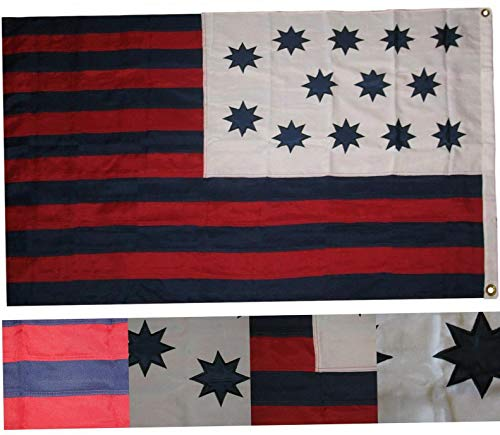 Mikash 3x5 Embroidered Sewn Historical Guilford Courthouse 100% Cotton Flag 2 Clips | Model FLG - 3715