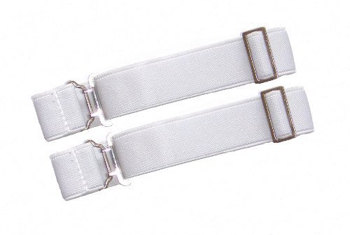 White Elasticated Kilt Sock Hose Garters - Perfect for Dancers and Pipers.