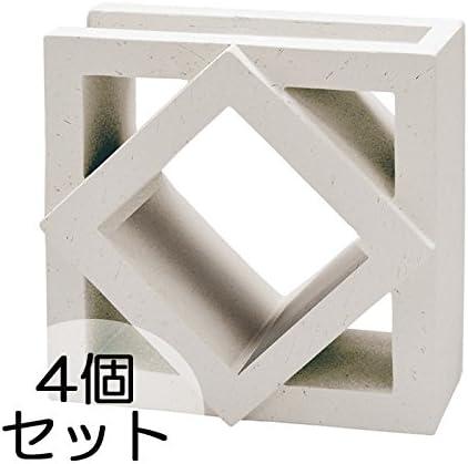 ブロック せっき質無釉ブロック ポーラスブロック200コーナー 190Bタイプ 白土(配筋溝あり・1面フラット) 4個セット単位 屋外壁