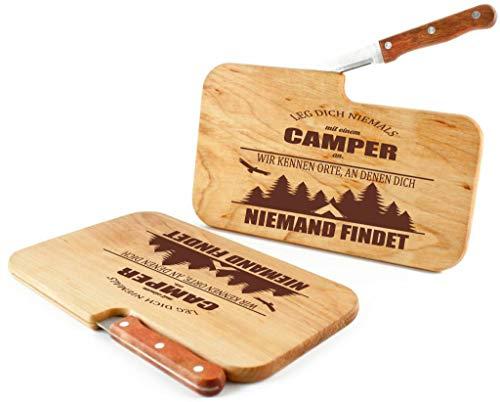 41RDkuphWFL Beschdstoff/Schneidebrett mit Messer und Branding/Camping/Größe 26 x 15 x 12 cm Holz Brettchen