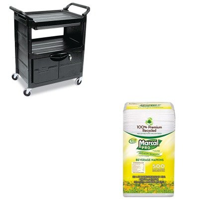 KITMRC28CTRCP345700BLA - Value Kit - Rubbermaid Utility Cart w/Locking Doors (RCP345700BLA) and MarcalPro 100% Recycled Beverage Napkins (MRC28CT) by Rubbermaid