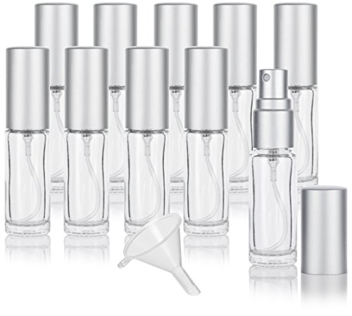 Clear Glass 0.15 oz / 5 ml Refillable Small Travel Perfume Spray Bottle (10 PACK) + Funnel ()