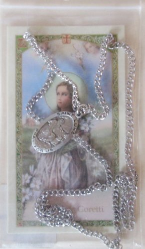 SAINT MARIA GORETTI HOLY CARD W/SAINT LUKE PEWTER MEDAL.* PEWTER MEDAL PRAYER CARD SET ()