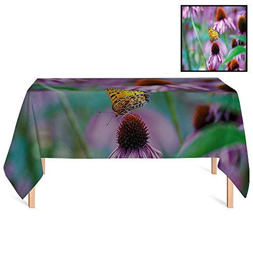(SATVSHOP Stain Resistant Tablecloths /55x102 Rectangular,Garden Monarch Butterfly on Coneflowers Wildlife Bugs Plants Rural Scenery Photo Fuchsia Yellow Green.for Wedding/Banquet/Restaurant.)