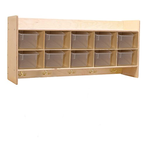 Contender C51401F Wall Locker & Cubby Storage w/10 Translucent Trays, Assembled by Wood Designs