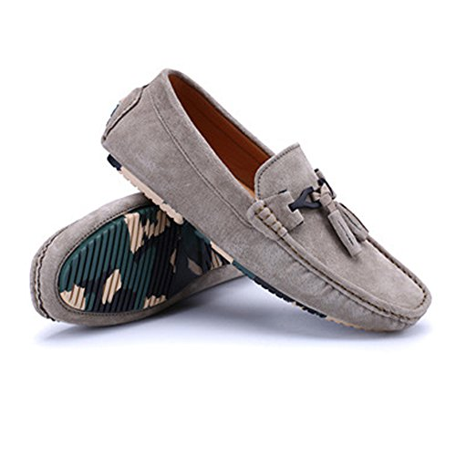 EU Scarpe BBethun in Mocassini da da Flat 44 Cachi Mocassini on Mocassini Decor pelle Slip Color Grigio guida Dimensione Fashion uomo Business Nappa Penny Shoes vera rxqZS0rFw
