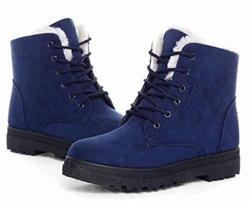 DADAWEN Womens Suede Waterproof Lace Up Winter High Top Snow Boots Blue uYnEKC