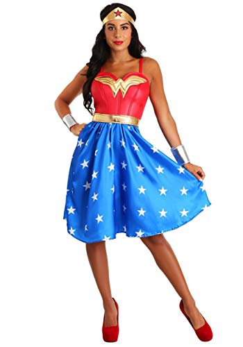 Deluxe Womens Plus Size Long Dress Wonder Woman Costume 3X Blue -