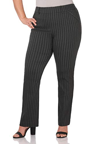 Rekucci Curvy Woman Ease in to Comfort Fit Barely Bootcut Plus Size Pant (14W,Dark Charcoal Pinstripe)