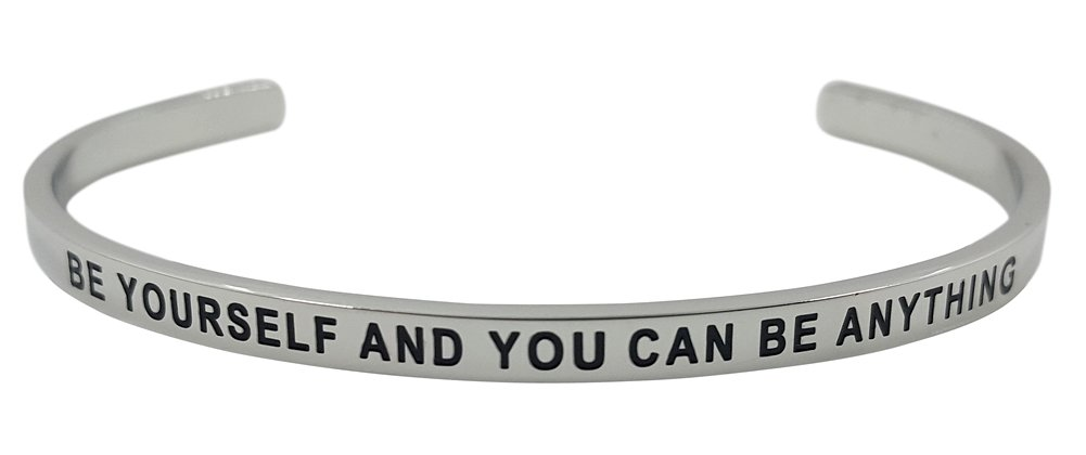 ''BE YOURSELF AND YOU CAN BE ANYTHING'' Positive Message Inspirational Cuff Mantra Bracelet