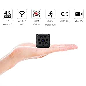 SZMDLX Mini WiFi Camera 4K/1080P HD Wireless Home Security Surveillance Spy Hidden Camera, Portable Nanny Cam Indoor/Outdoor Camcorder with Motion Detection Night Vision