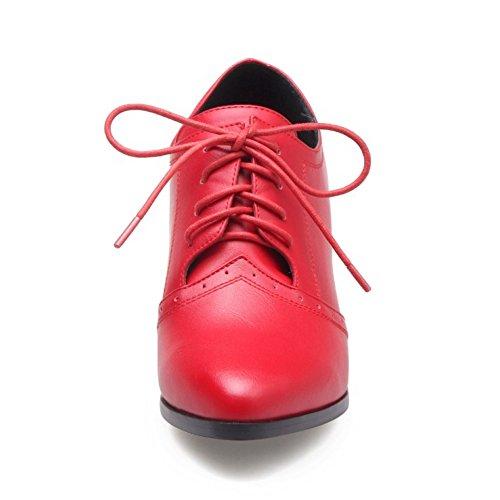 Rouge Lacets Pointue Cheville Taoffen Femmes Bottes 5 De AwxZA1Wvc4
