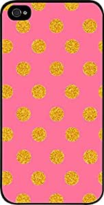linJUN FENGGold Polka Dots on Pink- Case for the Apple Iphone 5-5s Universal- Hard Black Plastic Snap On Case