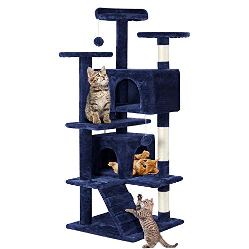 Yaheetech Cat Tree Scratcher Play House Condo Furniture (Tower Cat Blue)