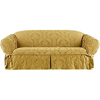 Matelasse Damask One Piece Sofa Slipcover   Gold