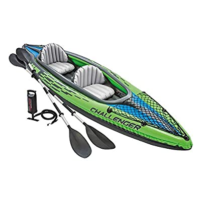 Challenger K2 Kayak, 2-Person Inflatable Kayak Set with Aluminum Oars and High Output Air Pump