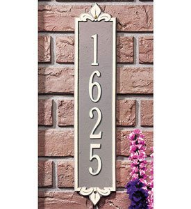 Whitehall Products Rectangular Lyon Estate Wall 1-Line Vertical Address Plaque - Black/Gold