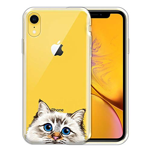 FINCIBO Case Compatible with Apple iPhone XR 6.1 inch, Clear Transparent TPU Silicone Protector Case Cover Soft Gel Skin for iPhone XR - Seal Lilac Tabby Point Birman Cat