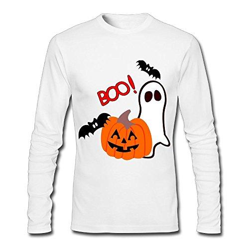 AS-WALL Halloween Pumpkin Ghosts Men's Long Sleeve Cotton Graphic (Fat Albert Halloween)