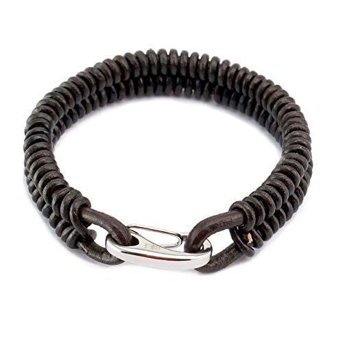 Three Keys Jewelry Dark Brown Leather Mens Bracelet Stainless Steel Lobster Clasp 21cm Length