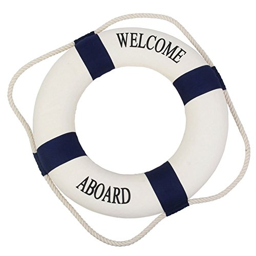 Qingsun Navy Style Foam Welcome Aboard Cloth Life Ring Accent Nautical Decor Room Decor Wall Hanging(Blue-45cm) (Life Aboard)
