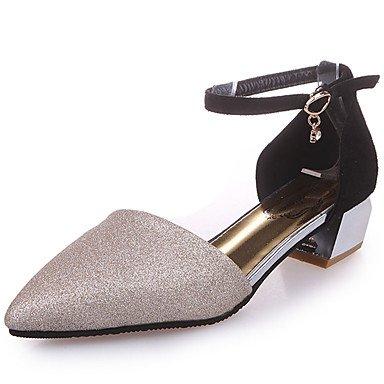 Zapatos PU del Tacón Dorado 5 Gold club Negro del LvYuan Mujer 7 Vestido Sandalias Primavera Verano Zapatos Robusto cms Hebilla Plata club gFAxXS