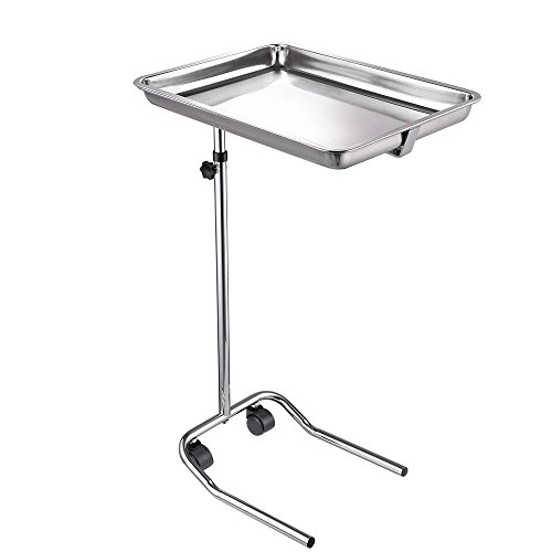 AW Mobile Mayo Stainless Steel Tray Stand Adjustable Trolley Medical Salon Equipment Tattoo 22lbs Capacity