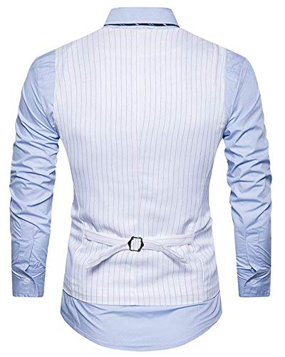 Élégant V Blanc Smoking Business Fit Slim One Casual Gilet piece neck Hommes Vintage ryrTU6cW