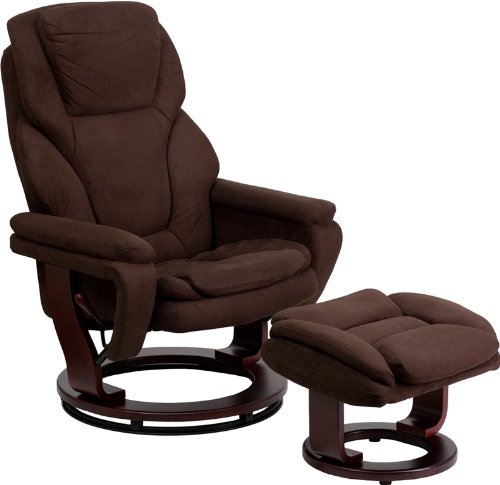 Flash Furniture Contemporary Brown Microfiber Recliner and Ottoman with Swiveling Mahogany Wood Base by Flash Furniture