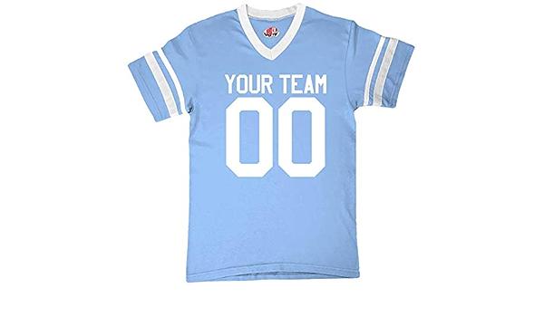 Amazon.com: Custom Light Blue & White Casual Football Fan Jersey ...