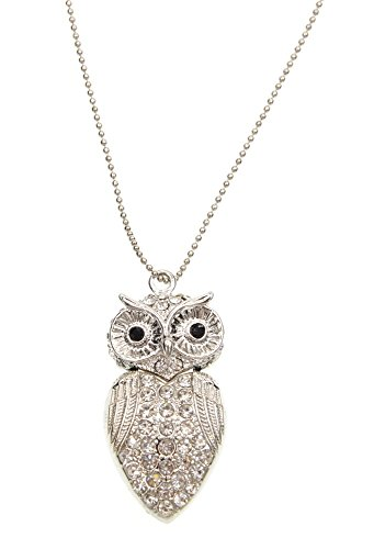 USB Flash Drive 32GB Pendant Zip Drive - Silver Crystal Owl Thumb Drive with Necklace - Novelty Pendrive in Box As Birthday by FEBNISCTE