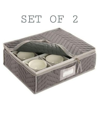 "China Cup Storage Chest - Deluxe Quilted Microfiber (13""Hx15.5""Wx5""D) Grey (2-Pack)"
