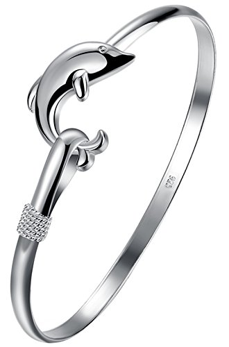Greendou Fashion Jewelry 925 Sterling Silver Dolphin Bangle Bracelet
