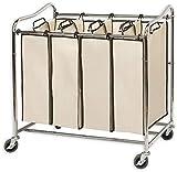 Simplehouseware 4-Bag Heavy Duty Rolling Laundry