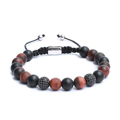 Beaded Macrame Mens Bracelet 10mm Gemstones Silver Plating Stainless Steel Handcrafted Studded Black CZ Stones - Black & Red