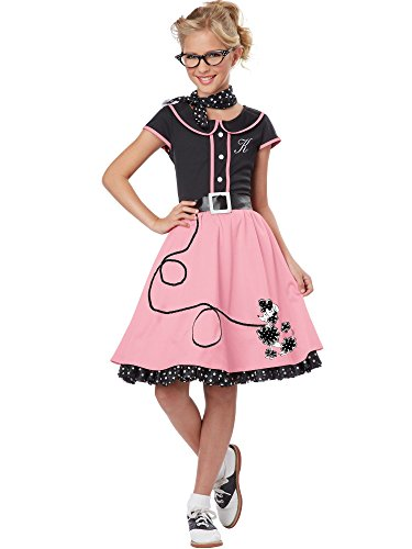 Sock Hop Girl (California Costumes Child's 50's Sweetheart Costume, Pink/Black,)